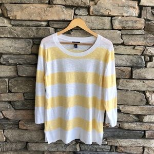 GAP Stripe Pullover Crewneck 3/4 Sleeve Light